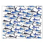 School of Marlin and a Swordfish Small Poster