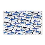 School of Marlin and a Swordfish 3'x5' Area Rug
