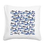 School of Marlin and a Swordfish Square Canvas Pil
