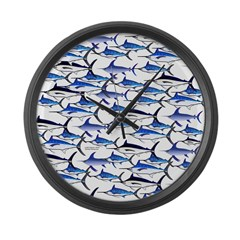 School of Marlin and a Swordfish Large Wall Clock