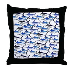 School of Marlin and a Swordfish Throw Pillow