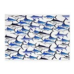 School of Marlin and a Swordfish 5'x7'Area Rug