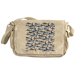 School of Marlin and a Swordfish Messenger Bag