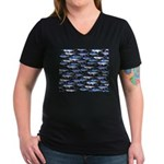 School of Marlin and a Swordfish Women's V-Neck Da