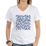 School of Marlin and a Swordfish Women's V-Neck T-