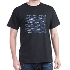 School of Marlin and a Swordfish Dark T-Shirt