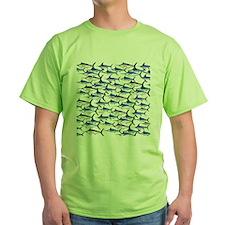 School of Marlin and a Swordfish Green T-Shirt