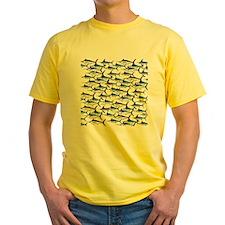 School of Marlin and a Swordfish Yellow T-Shirt