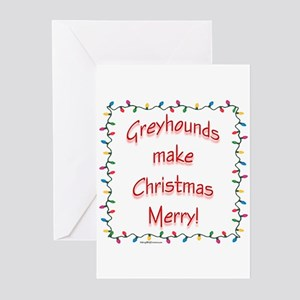 Merry Greyhound Greeting Cards (Pk of 10)