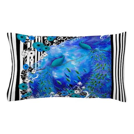 Peacock Garden Stripe Pillow Case