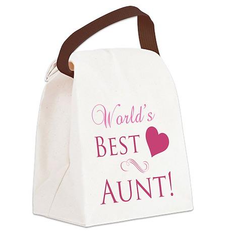 World's Best Aunt (Heart) Canvas Lunch Bag