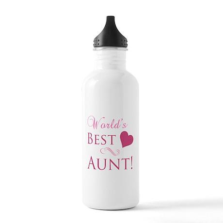 World's Best Aunt (Heart) Stainless Water Bottle 1