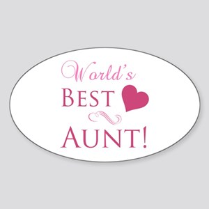 World's Best Aunt (Heart) Sticker (Oval)