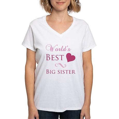 World's Best Big Sister (Heart) Women's V-Neck T-S