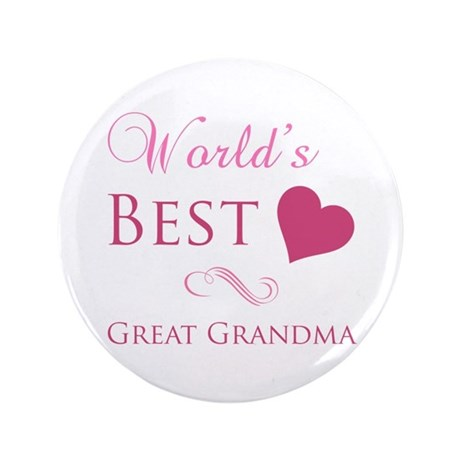 """World's Best Great Grandma (Heart) 3.5"""" Button"""