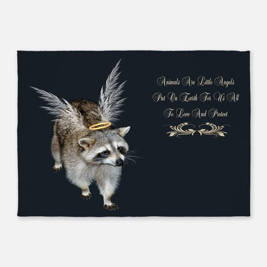 Raccoon Angel 5'x7'Area Rug