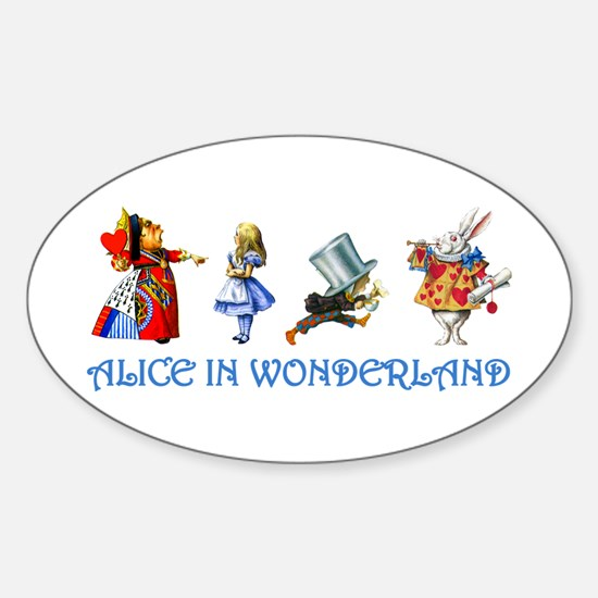 Alice and Her Friends in Wonderland Sticker (Oval)