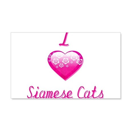 I Love/Heart Siamese Cats 20x12 Wall Decal