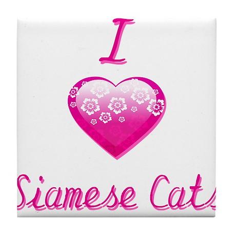 I Love/Heart Siamese Cats Tile Coaster