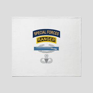 SF Ranger CIB Airborne Master Throw Blanket