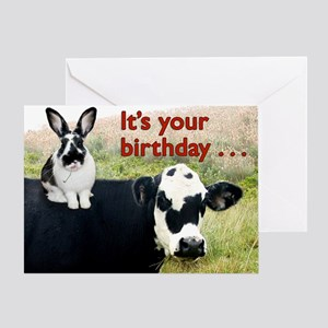 Bunny Amp Cow Greeting Card