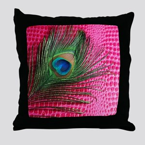 Hot Pink Peacock Feather Throw Pillow
