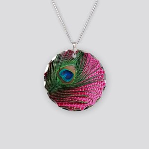 Hot Pink Peacock Feather Necklace Circle Charm