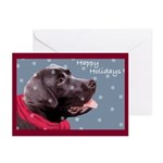 Black Lab Snowflake Hoilday (10) Greeting Cards