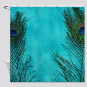 Aqua Blue Peacock Feathers Shower Curtain