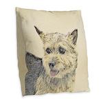 Norwich Terrier Burlap Throw Pillow