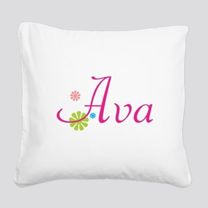 Ava Bright Flowers Square Canvas Pillow