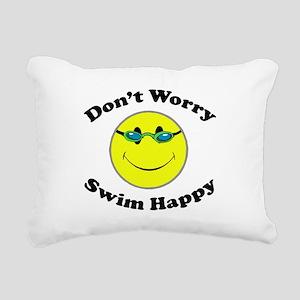 Don't Worry Swim Happy Rectangular Canvas Pillow