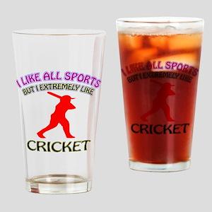 Cricket Design Drinking Glass