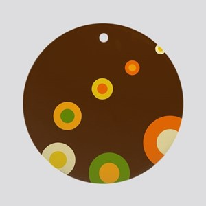 Vintage retro circles dots orange g Round Ornament