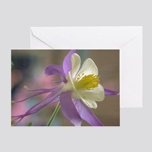 Purple and White Columbine Greeting Card