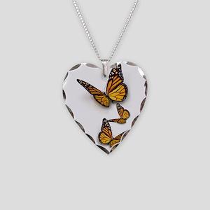 Monarch Butterlies Necklace Heart Charm