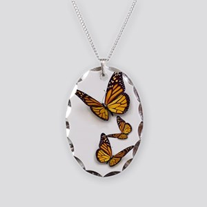 Monarch Butterlies Necklace Oval Charm