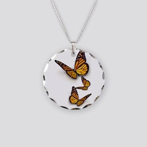 Monarch Butterlies Necklace Circle Charm