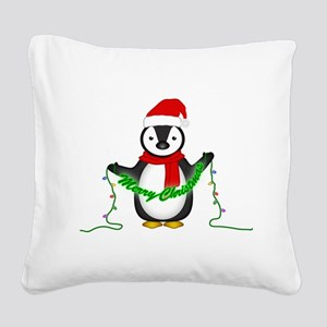 Penguin with lights Square Canvas Pillow