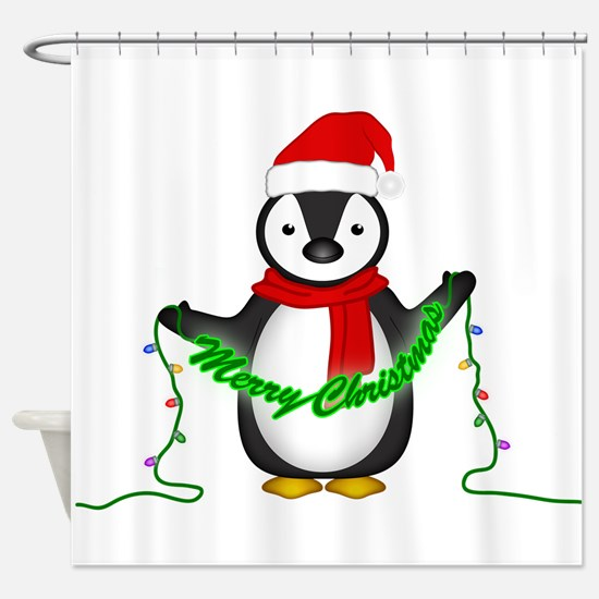 Penguin with lights Shower Curtain