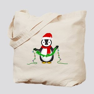 Penguin with lights Tote Bag