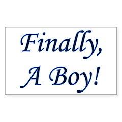 Finally, A Boy! Rectangle Decal