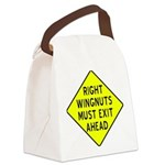 Right Wingnuts Must Exit Ahead Canvas Lunch Bag