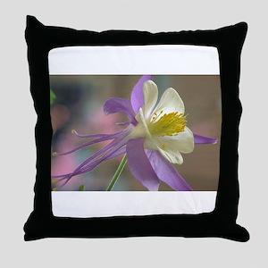 Purple and White Columbine Throw Pillow