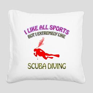 Scuba Diving Design Square Canvas Pillow