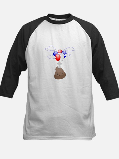 Poop Emoji Flying With Balloons Baseball Jersey