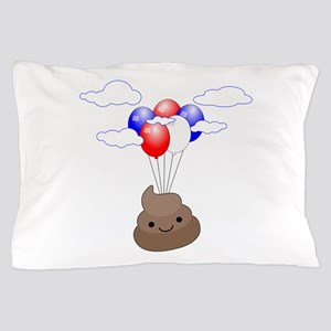 Poop Emoji Flying With Balloons Pillow Case