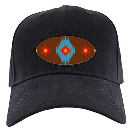 Native American Indian geomet Black Cap with Patch