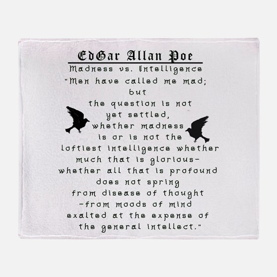 Edgar Allan Poe Madness.png Throw Blanket