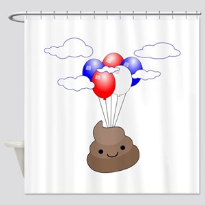 Poop Emoji Flying With Balloons Shower Curtain